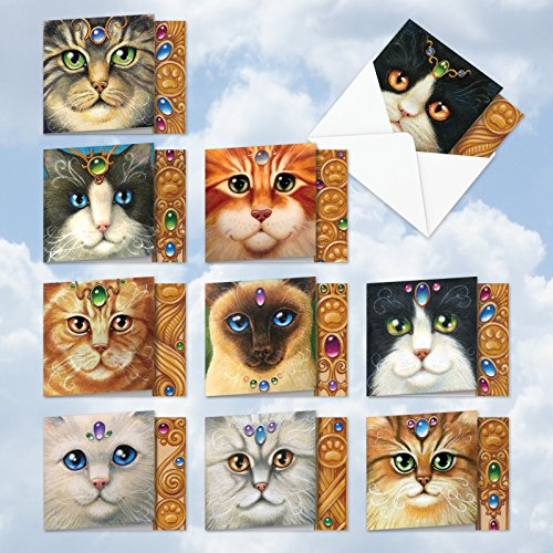 "MQ4602OCB-B1x10 Fancy Felines: 10 Assorted 'Square-Top' Note Cards Featuring Closely Cropped Detailed Portrait Illustrations of Various Cat Faces with Envelopes (1 Each of 10 Designs, Size 4"" x 5"")"