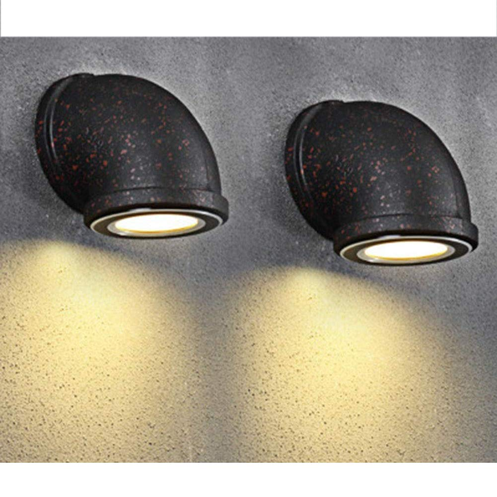 JT Wandleuchte Wasserpfeife Retro Treppe Lampen Eisen Industrie Rost Beleuchtung Indoor Outdoor Bedside Wohnzimmer Cafe Bar LED Licht,Large,13.5X16CM