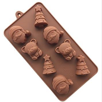 iTemer Moldes para Reposteria Chocolate Bizcochos Jabones Tartas Pastel Hornear Fondant Silicona Marrón Papá Noel Bear 8 hoyos 1 pieza: Amazon.es: Hogar