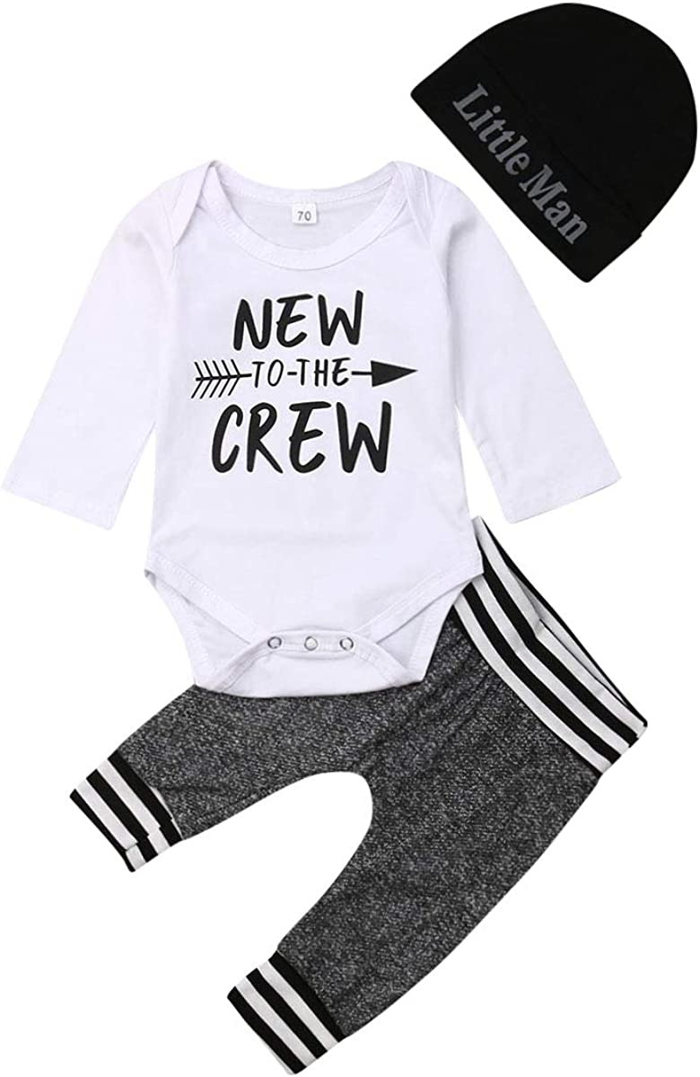 3PC Newborn Baby Boys Romper Jumpsuit Tops Long Pants Hat Outfits Clothes Set US
