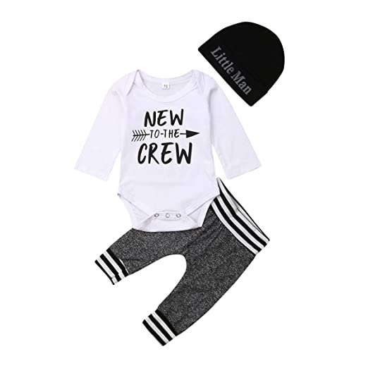 b5f1b163d950d Emmababy Newborn Baby Boys Girls Clothes Daddy's Little Man/New to The Crew  Romper +Harem Cotton Long Pants +Hat Outfit
