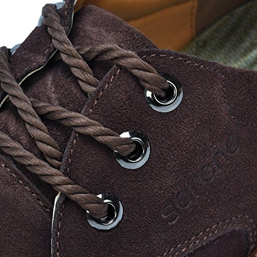 Serene Mens Classic Suede Casual Oxfords Sneakers(7.5 D(M)US, Coffee)