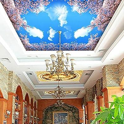 XLi-You 3D-Day White Cloud Sakura living room ceiling frescoes ceilings wallpaper