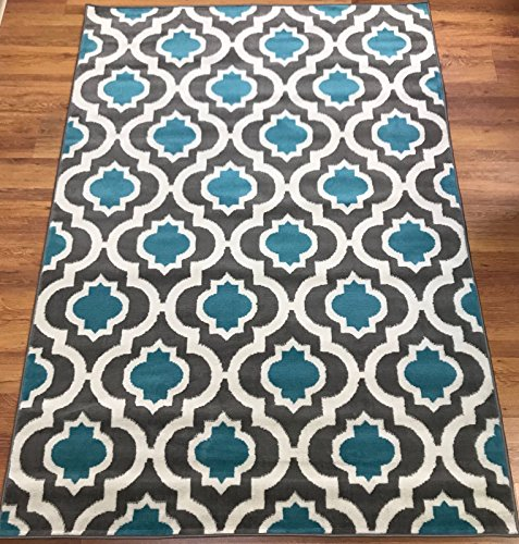 Large Product Image of Antep Rugs Kashan King Collection 505 Trellis Polypropylene Indoor Area Rug Blue and Cream 5' X 7'
