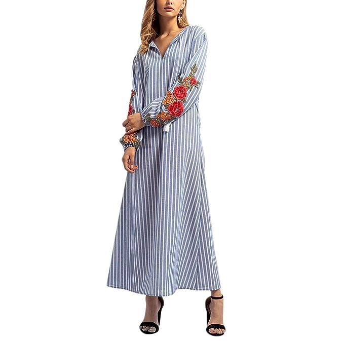 Vestido de Blusa Suelta con Cuello en V de Manga Larga árabe Bordado Floral de Gran