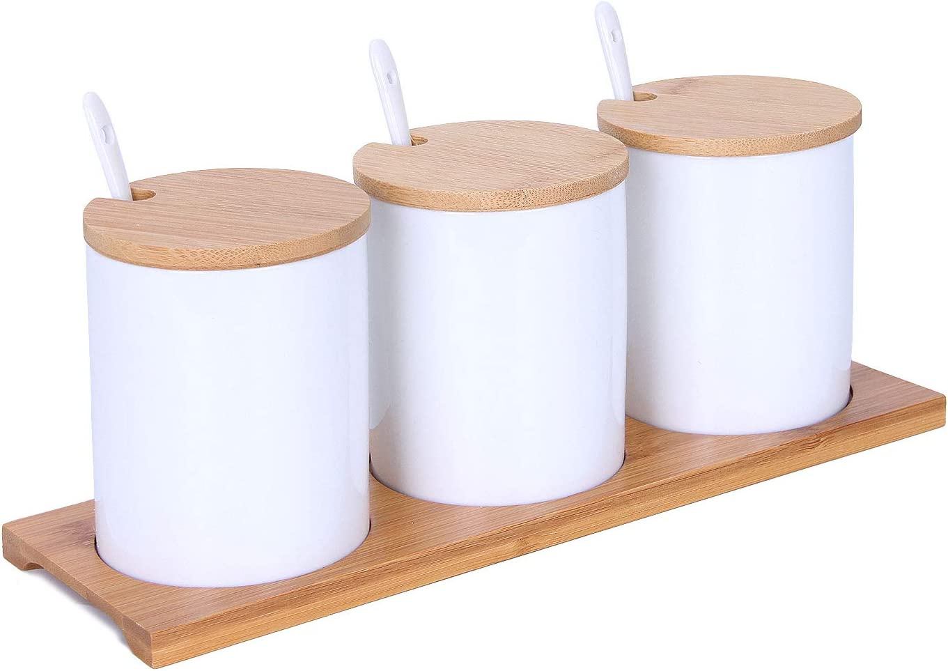 Set of 3 Porcelain Condiment Container Ceramic Spice Sugar Jars Bowl Seasoning Box Set with Ceramic Serving Spoon Wooden Tray Bamboo Cap Holder