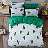 MUSIYU Fresh Plant Style Cotton 4Pcs Bedding Set 1 Duvet cover 1 Sheet 2 Pillowcases All SizeTwin^^^Cactus^^^green