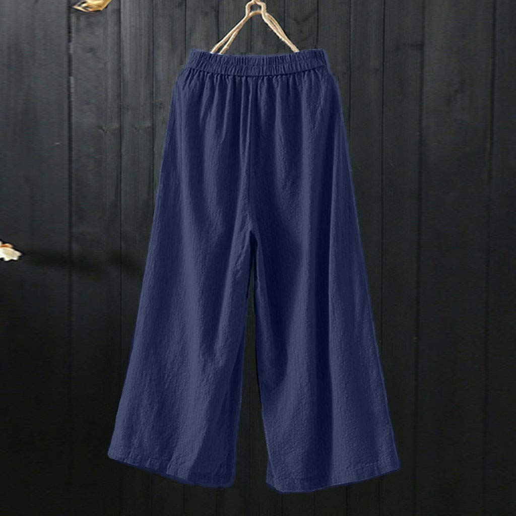 Womens Plus Size Solid Color Linen Cotton Wide Leg Elastic Waist Casual Pants Loose Trousers with Pocket