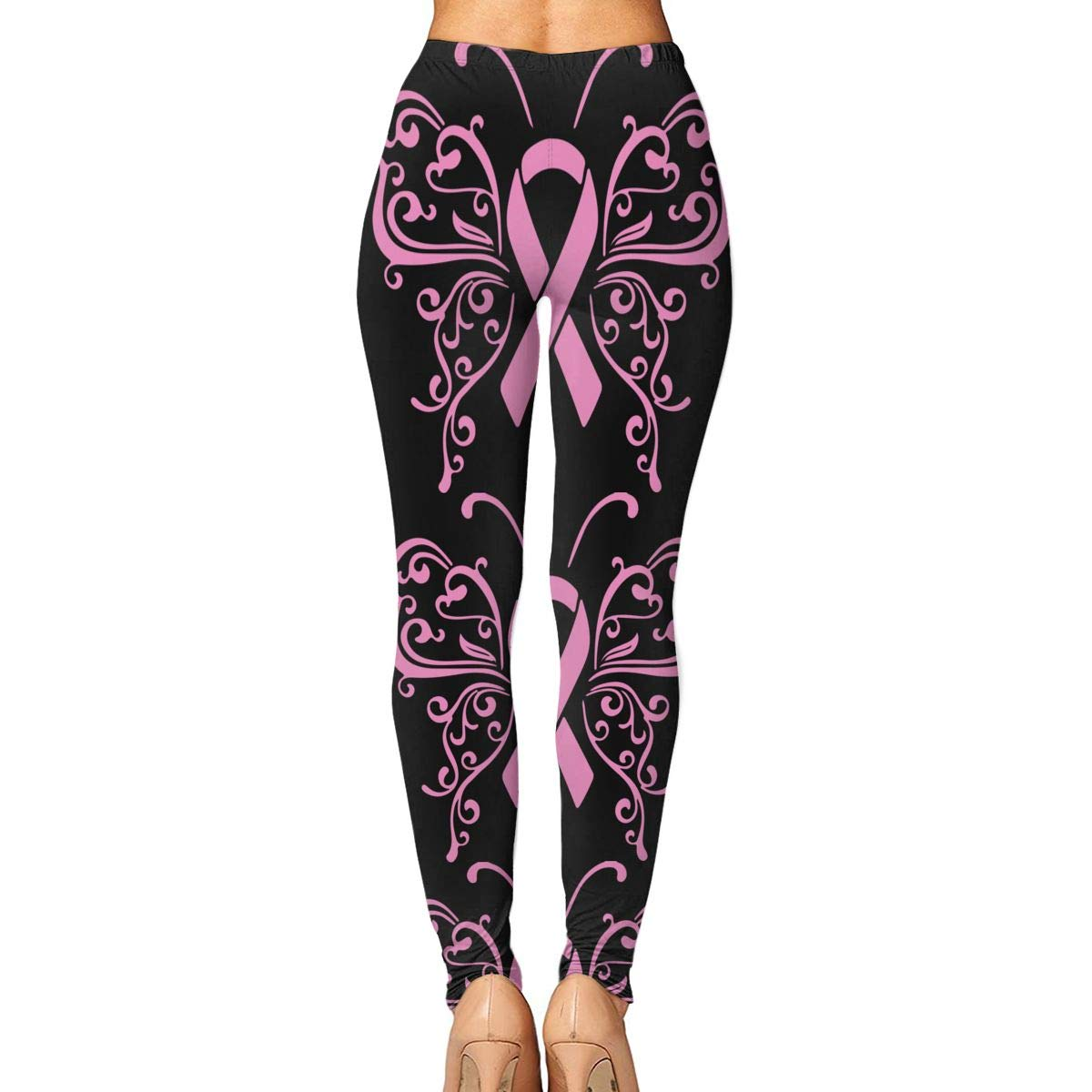 Amazon.com: PYJK79R Ribbon Fly Breast Cancer Womens Yoga ...