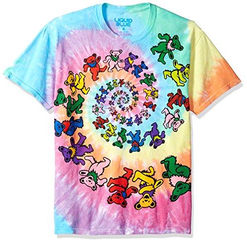 Liquid Blue Big Kids Grateful Dead Spiral Dancing Bears Short Sleeve T-Shirt, Tie-Dye, Medium (Grateful Dead Tie Dye T-shirt)