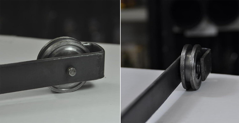 Lot de 4 galets de porte /Ø 5 cm avec suspension en acier 26 cm pour guidage porte ou portail coulissants suspendus 4x30133