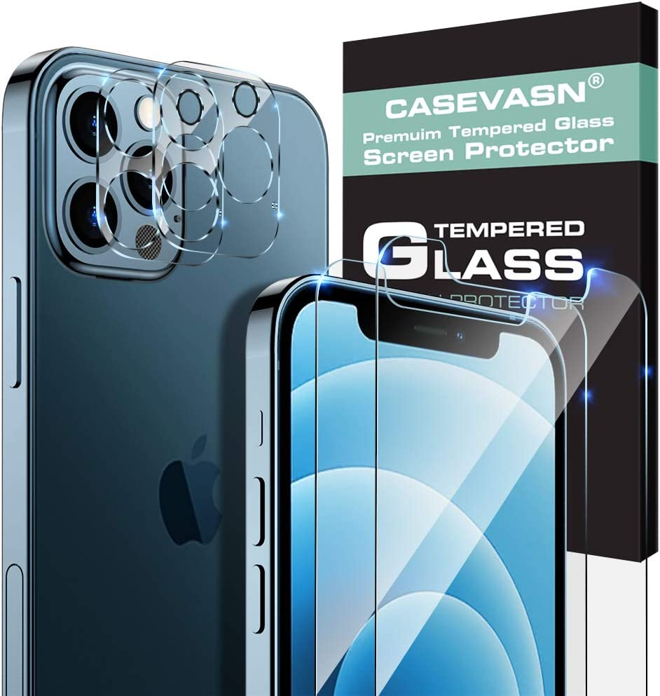 "[4 Pack] 2 Pack Tempered Glass Screen Protector +2 Pack Camera Lens Protector Compatible with iPhone 12 Pro (6.1""), [9H Hardness] Ultra-Thin Clear Scratch-Resistant [Bubble Free] [Case Friendly]"