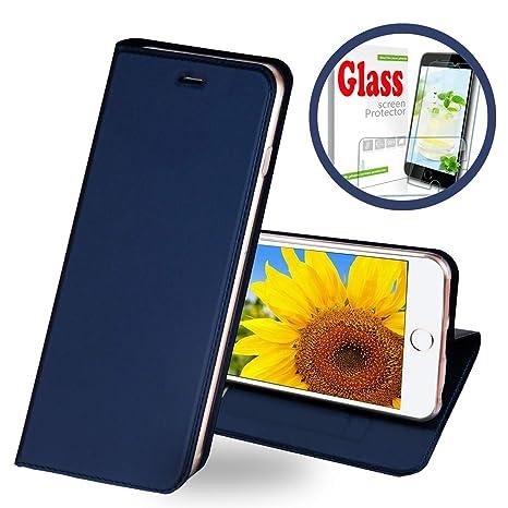 Penlicraft Funda para Galaxy A3 2017,Slim Carcasa con Tapa TPU Interior Case Billetera Carcasa Libro de Cuero Ultra Slim Case Vidrio Templado para ...