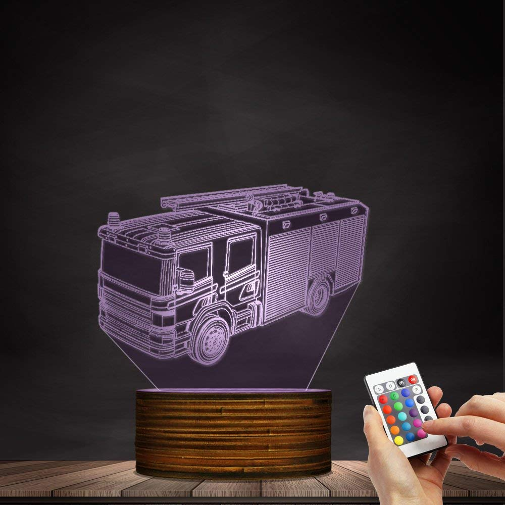 Novelty Lamp, 3D Led Lamp Optical Illusion Fire Truck Night Light 16 Colors with Remote Control Room Decor Switch Remote - Gift for Birthday Christmas Child Adult,Ambient Light by LIX-XYD (Image #6)