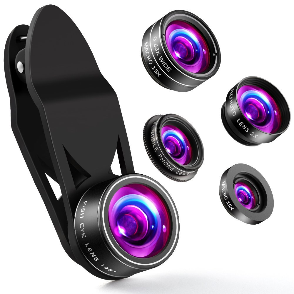 Cell Phone Camera Lens ZPTONE 5 in 1 Clip On Camera Lens Kit 198°Fisheye Lens + 0.63X Wide Angle Lens + 15X Macro Lens + 2X Telephoto Lens + CPL Lens Cell Phone Lens for Most iPhone, Android Phones