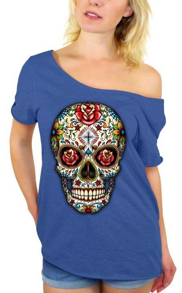Awkwardstyles Sugar Skull Rose Eyes Off Shoulder Tops T-Shirt + Bookmark 2XL Blue
