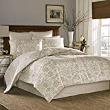 4 Piece Queen, Asian Floral Pattern Comforter Set, Contemporary Allover Elegant Style Flower Printed Design, Classic Medallion Themed, Gorgeous Casual Reversible Bedding, Adorable Off-White, Tan Color