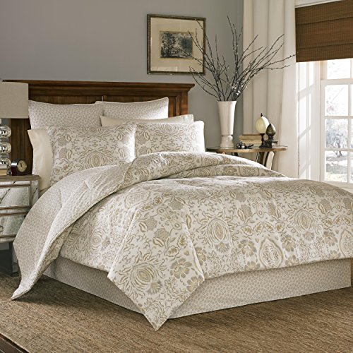 4 Piece Queen, Asian Floral Pattern Comforter Set, Contemporary Allover Elegant Style Flower Printed Design, Classic Medallion Themed, Gorgeous Casual Reversible Bedding, Adorable Off-White, Tan Color by AF ULTRA