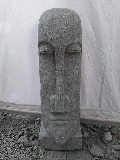 Wanda collection Estatua jardín Zen Moaï Rostro Alargado de Piedra volcánica 60 cm: Amazon.es: Jardín