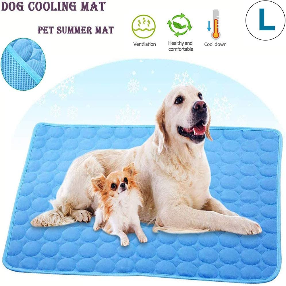 Wondery Dog Cooling Mat, Pressure Activated Comfort Cooling Gel Pet Pad Mat, for Medium Pets, Washable Dog Cooling Mat Ice Silk Pet Self Cooling Pad Blanket,Use Indoors,Outdoors or in The Car