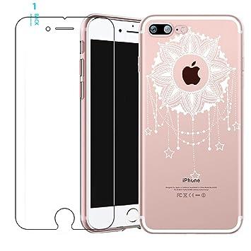Zeattain Funda iPhone 6/6s Carcasa Transparente Silicona con Protectores de PantallaUltra Delgado TPU Cover Anti-Choque Anti-Arañazos Case para Apple ...