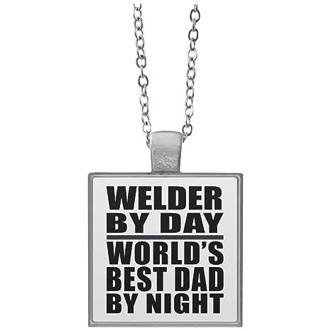 Dad collar, soldador por día mejor papá del mundo por la noche – cuadrado collar