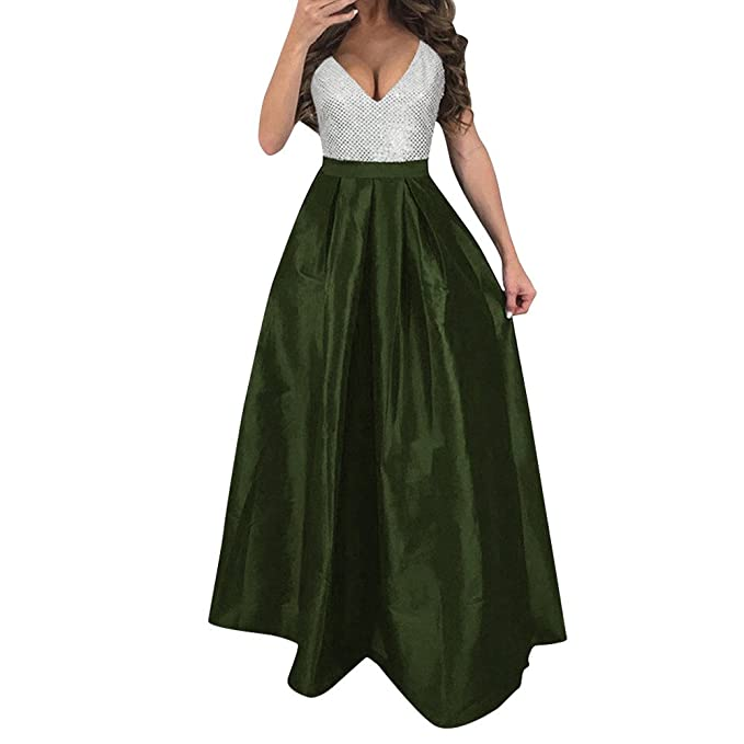 Damen Langarm Abend Formale Party Ballkleid Prom Brautjungfer Cocktail Maxikleid