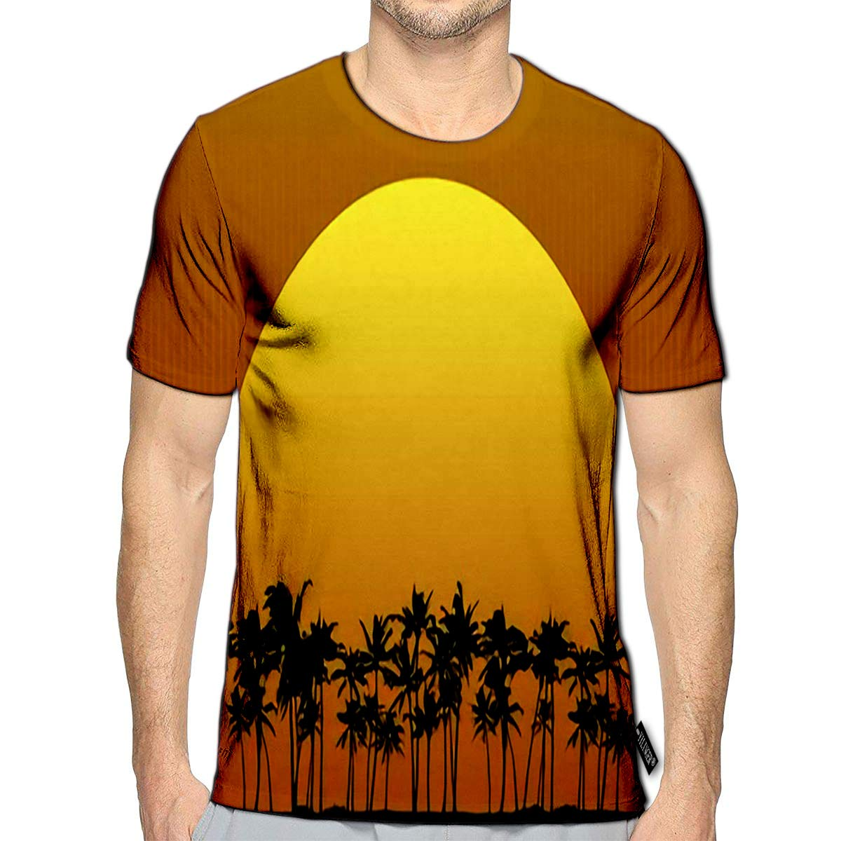 3D Printed T-Shirts Vintage Label Palm Trees Grunge Retro Badge Short Sleeve Tops Tees