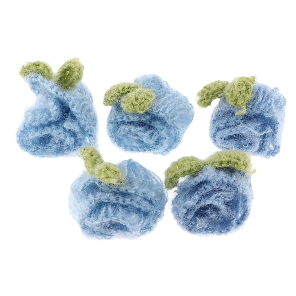 Farbwahl Blau non-brand Baoblaze 5 St/ück H/äkelblumen zum Aufn/ähen Handgemachte H/äkelarbeit Appliques N/ähen Handwerk