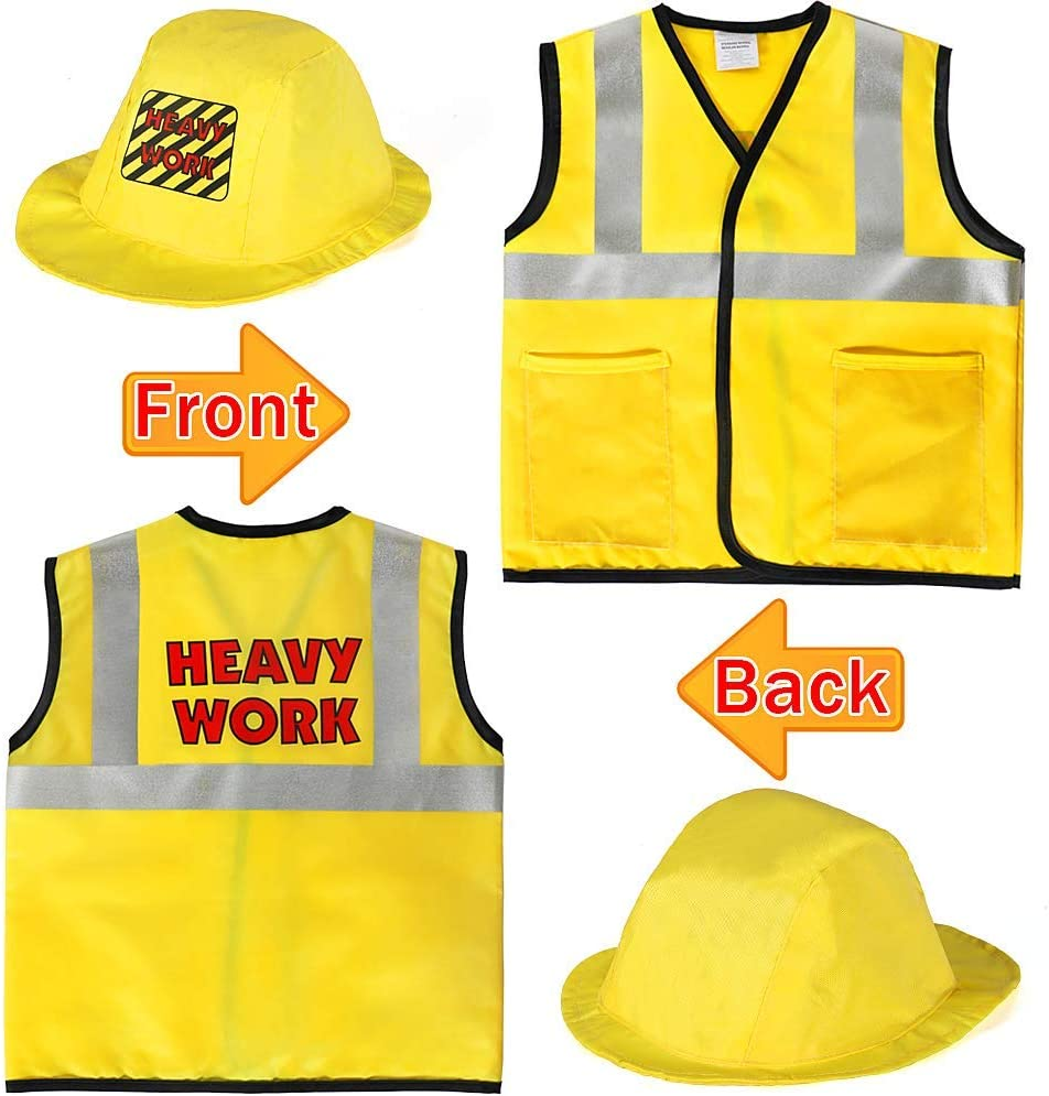 SATKULL Kids Construction Worker Costume Role Play Kit Set Engineering Dress Up Gift Educational Toy Kids Halloween Boys Gifts Yellow