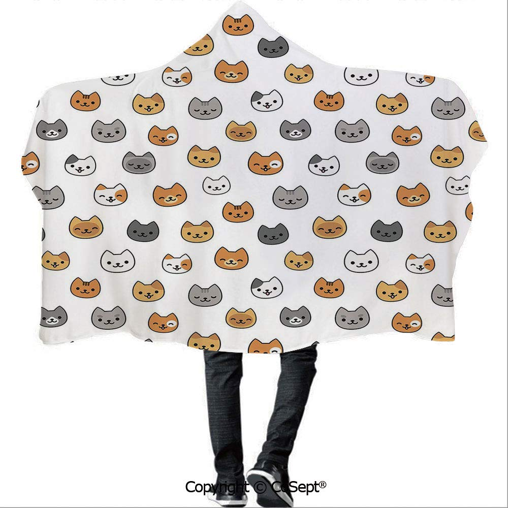 Wearable Hooded Blanket,Happy Funny Kittens in Smiling Animals Cute Eyes Decorative,for Adults and Children(59.05x78.74 inch),Grey Pale Brown Pale Orange by AmaUncle