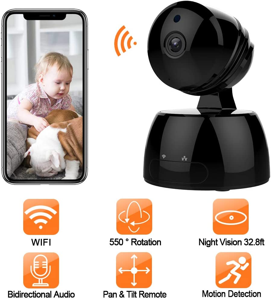 Wireless IP Camera,GAKOV GA829X WiFi 1080P HD Security Surveillance Camera for Baby Pet Nanny with Night Vision Motion Detection- Cloud Service Available-Black Black