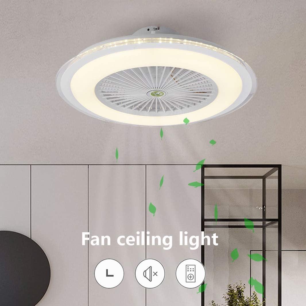 Ventilador de Techo con Iluminación, Lámpara de Dormitorio Silenciosa, 3 Velocidades Ajustables y 3 Colores Regulables con Control Remoto, Lámpara de Techo LED Moderna Sala de Estar 60CM (B-Blanco)