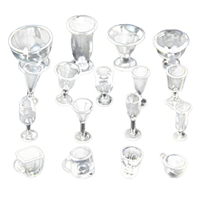 Gracefulvara 17Pcs Clear Cups - Tea Wine Ice Cream Cups Set for 1:12 Miniature Dollhouse Accessories: Toys & Games