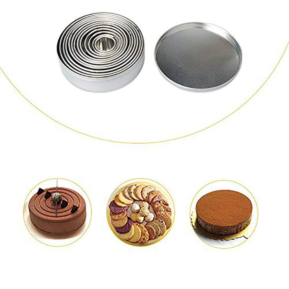 Jourbon 14 Rotoli La Pasticceria Rotonda dellAcciaio Inossidabile della Taglierina del Biscotto per I Muffin Inglesi dei Biscotti della Pasticceria