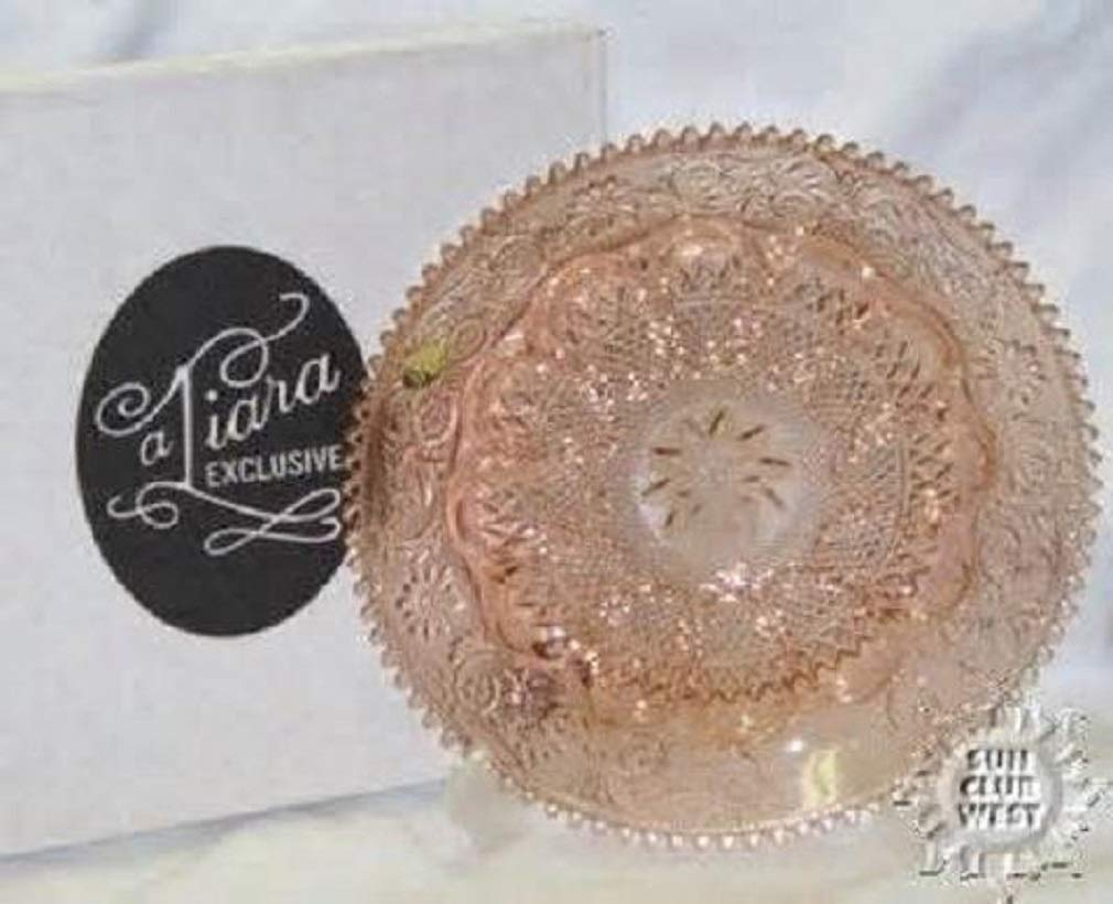 TIARA EXCLUSIVES PEACH PINK SANDWICH GLASS DEVILED EGG PLATE TRAY DISH ~ TIARA STICKER STILL INTACT!