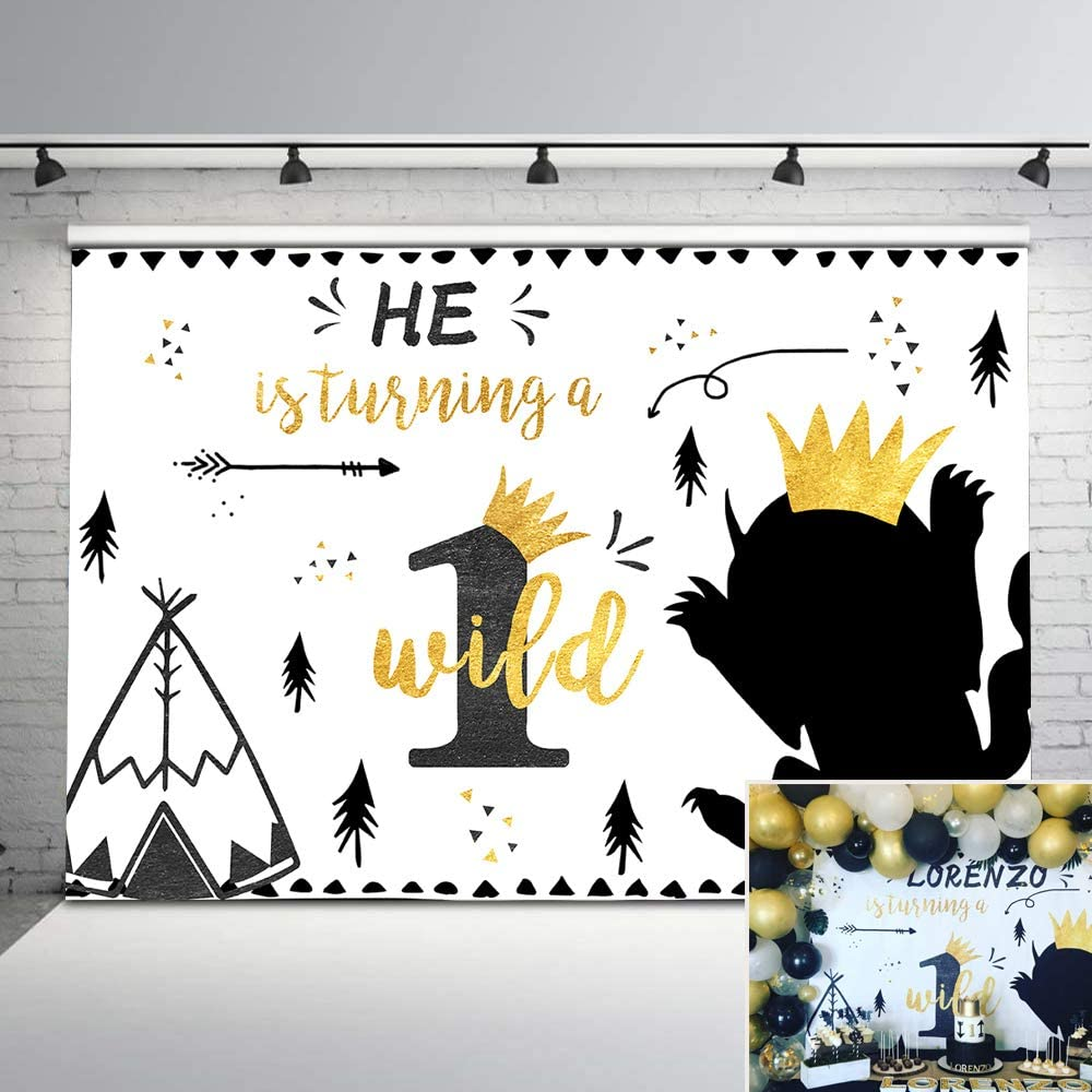 Mehofoto Wild One Birthday Backdrop Boy First Birthday Adventure Background 7x5ft Gold and Black Tribal Teepee Crown Wild Things Boho Photography Backdrops Safari Birthday Decorations