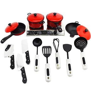 KOBWA 13 Piezas para Niños Mini Utensilios de Cocina Ollas y Sartenes para Niños Pretend Cook