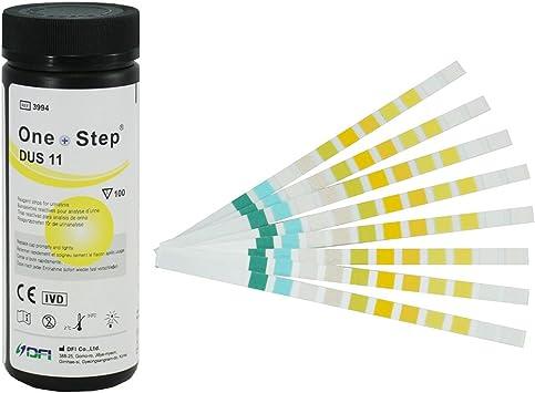 100 Tiras Reactivas para análisis de orina de 11 Parámetros: Leucocitos, nitritos, urobilinógenos, proteínas, pH, sangre, gravedad específica, ...