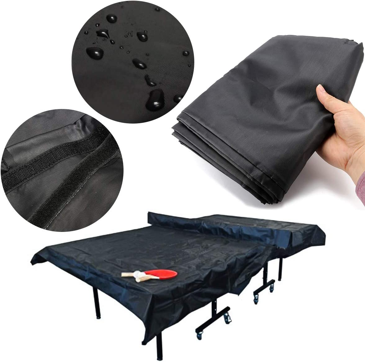 Essort Funda de Mesa de Tenis de Mesa Impermeable 210D Oxford Doblez Funda Protectora para Mesa de Ping-Pong con Banda Apretada Anti-UV