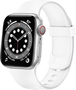 SVISVIPA Sport Bands Compatible with Apple Watch Bands 42mm 44mm, Soft Silicone Wristbands Women Men Replacement Strap for iWatch Series SE/6/5/4/3/2/1,White