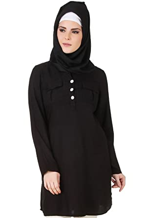 69e287cbbb8 MyBatua Black Rayon Muslim Tunic Stylish Formal Wear Kurtis KRF-123:  Amazon.co.uk: Clothing