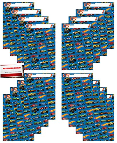 16 Pack Hot Wheels Party Plastic Loot Treat Candy Favor Bags (Plus Party Planning Checklist by Mikes Super Store)