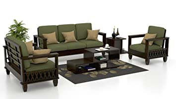 Zikra S Solid Wood Fabric 3 2 1 Sofa Set Green Color Amazon In