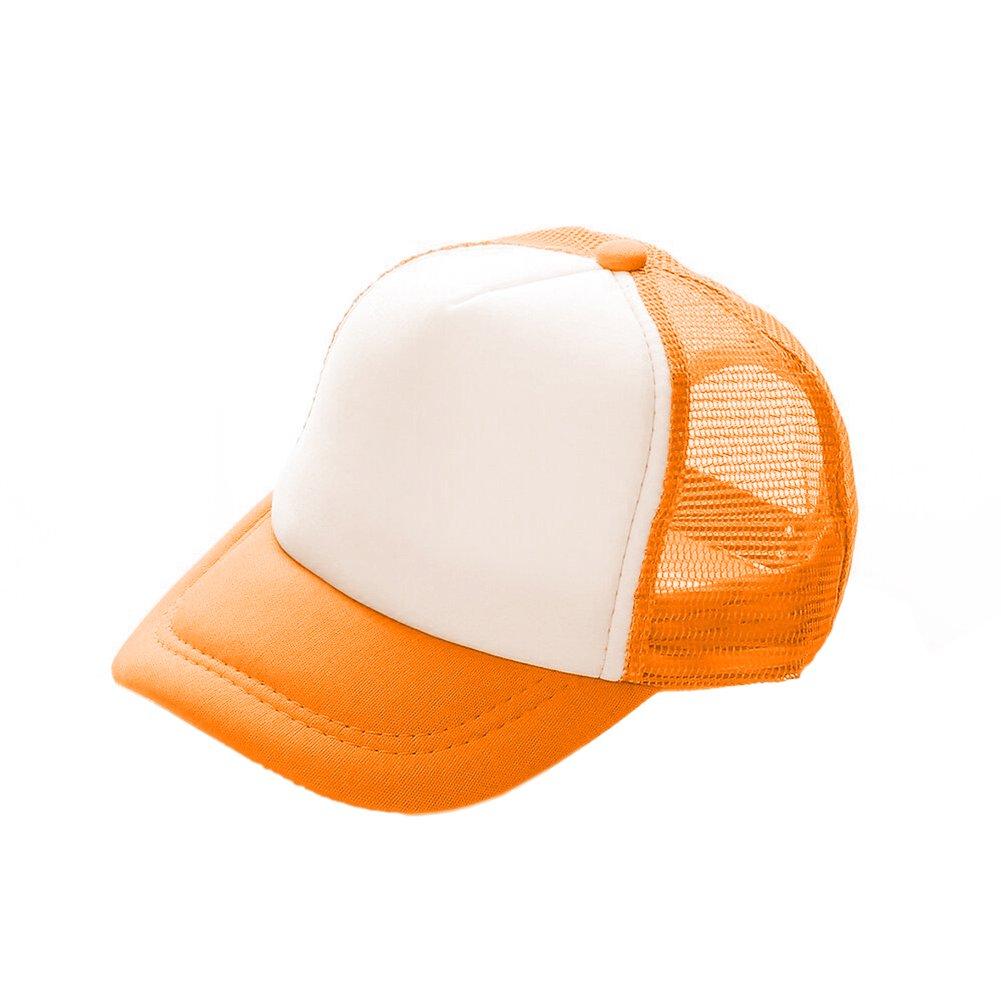 Opromo Custom Kids Two Tone Mesh Trucker Cap, Adjustable Snapback, Pack of 25-Orange/White by Opromo