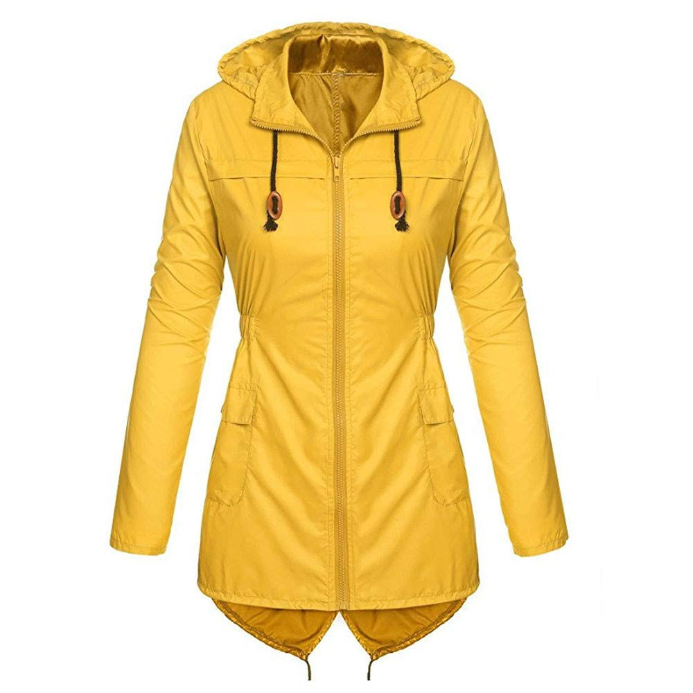 Women Hooded Lightweight Raincoat Waterproof Active Outdoor Long Sleeve Jackets Coat Outwear Overcoat (S, Yellow)