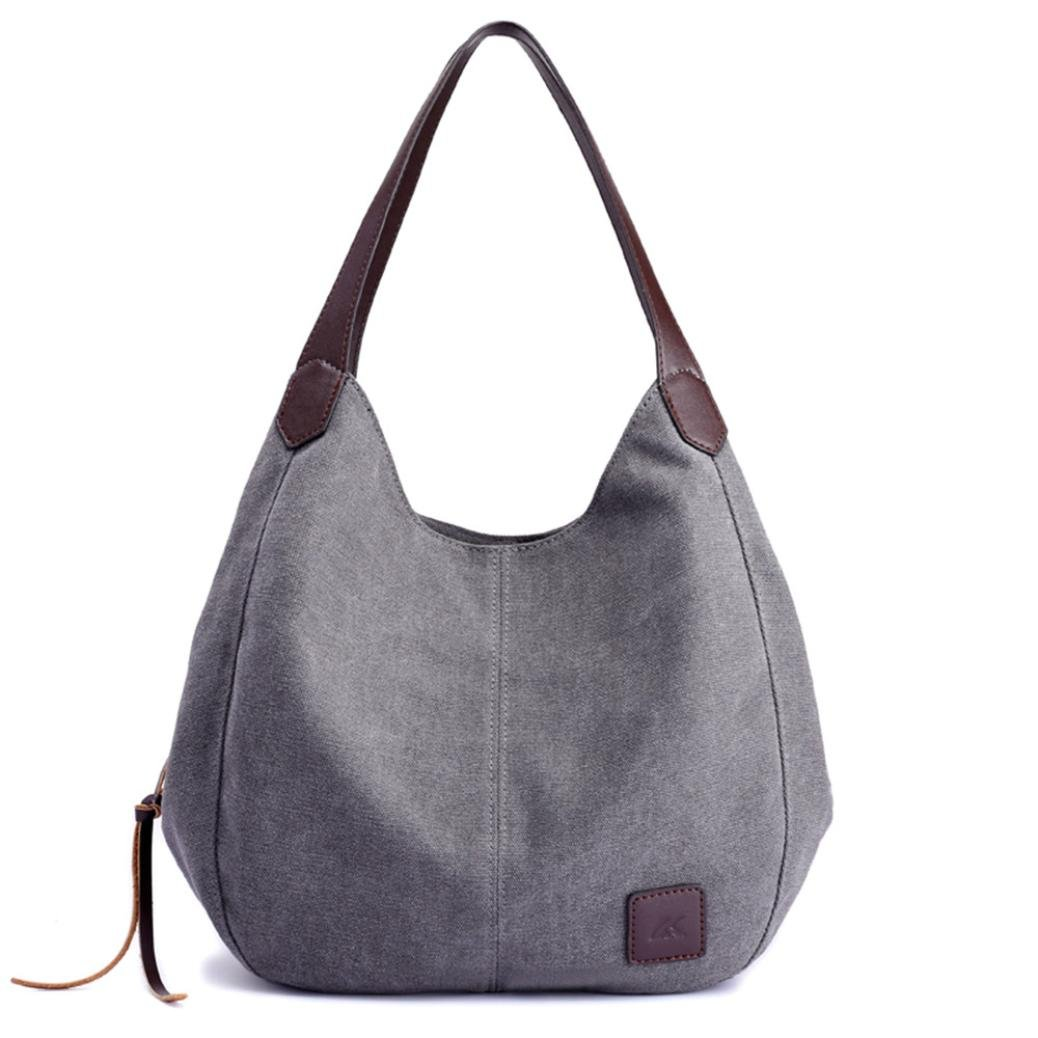 Best gift! Mother's Day Gift!Tootu Women's Canvas Handbags Vintage Female Hobos Single Shoulder Bags (Gray)