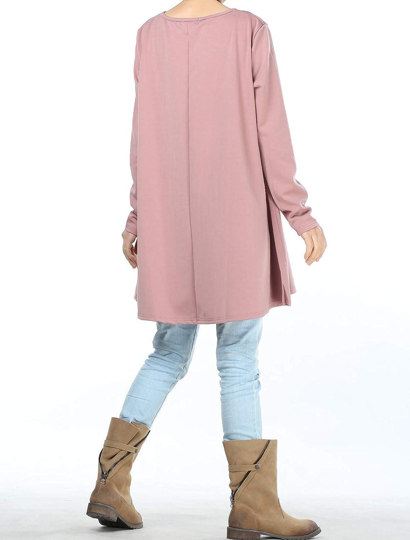 Mallimoda Donna Abito Vestito Girocollo Maniche Lunghe Casual Pullover Vestiti