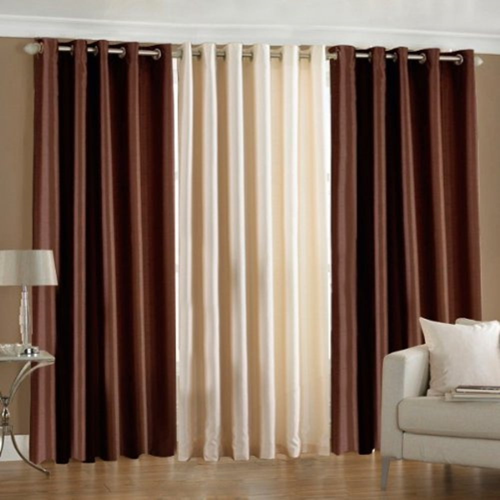 Super India Plain Faux Silk Set Of 3 Pieces Window Curtain 4 X & Door Curtains New Designs | Gopelling.net