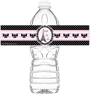 POP parties Paris Party Bottle Wraps - Set of 20 - Paris Party Water Bottle Labels - Paris Party Decorations - Made in The USA